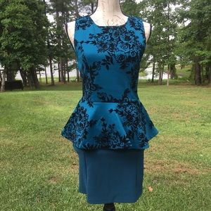 Forever 21 BlueGreen ALine Skirt and Peplum Blouse